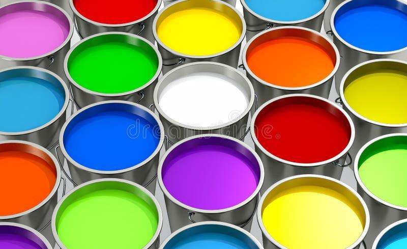 Seaux avec la peinture de couleur photographie stock libre de droits