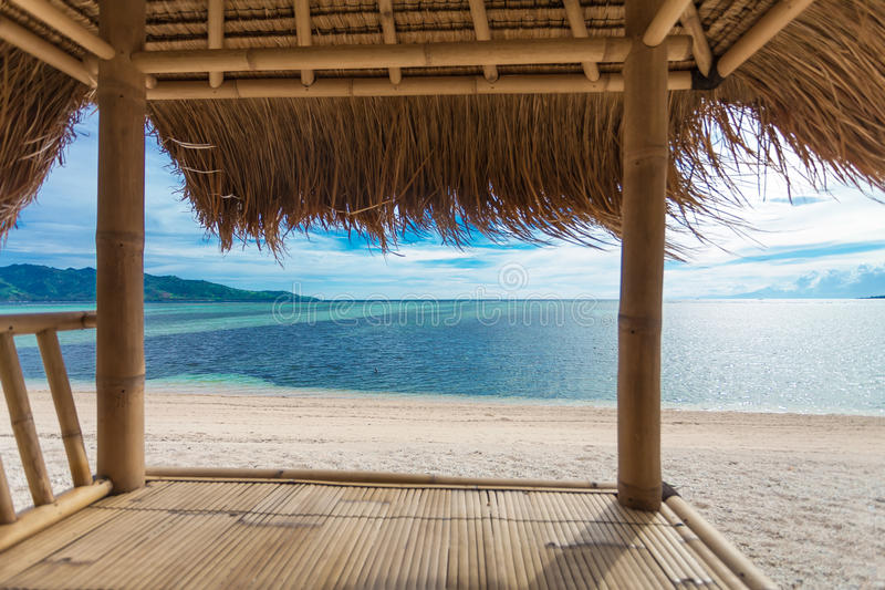 Seaview from bamboo hut. On beach on Gili Air island, off Bali in Indonesia stock photos