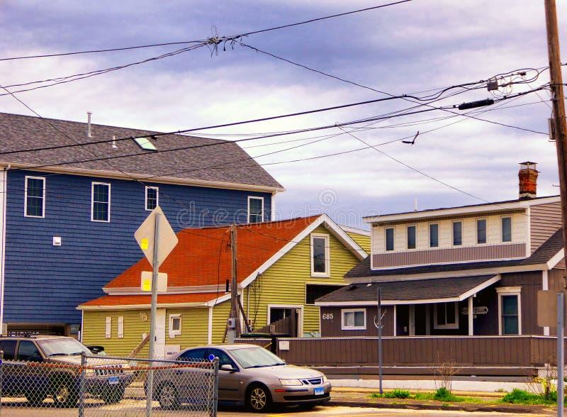 Seaview-Häuser nahe Charles Island Milford Connecticut stockbild