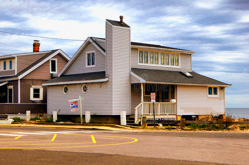 Seaview-Häuser nahe Charles Island Milford Connecticut stockbilder