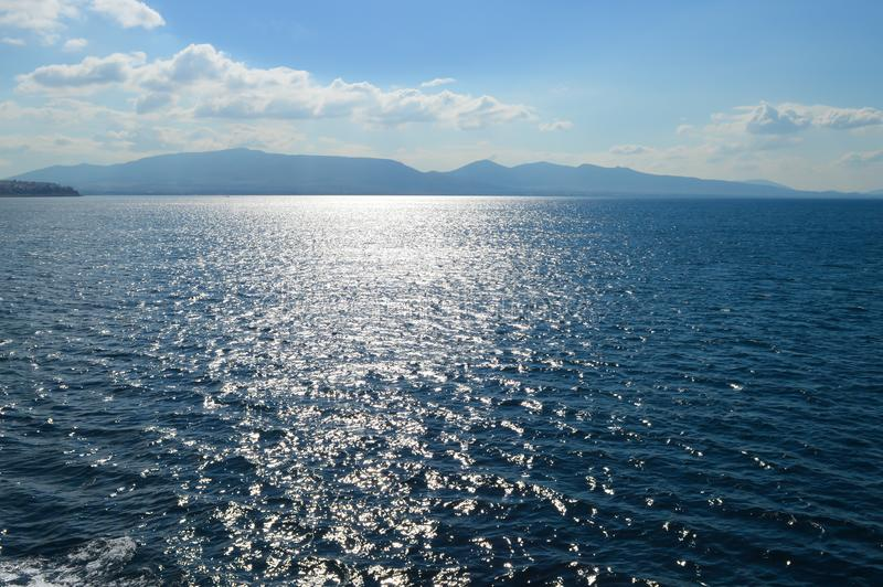Seaview over Saronic Gulf in Greece. June, 2017 royalty free stock images