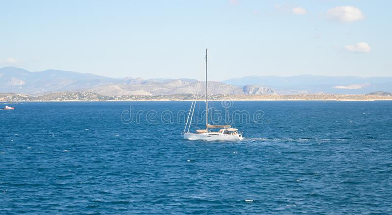 Seaview over Saronic Gulf in Greece. June, 2017 stock images