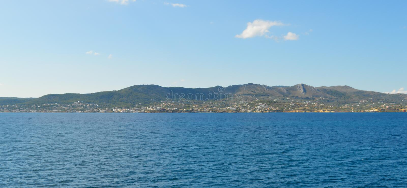 Seaview over Saronic Gulf in Greece, June, 2017. Aegina Island, Greece on June 19, 2017 royalty free stock photos