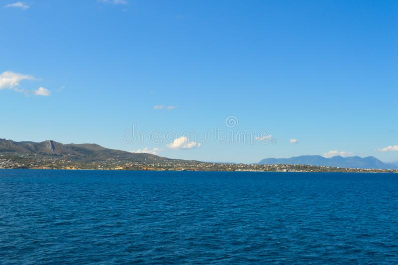 Seaview over Saronic Gulf in Greece, June, 2017. Aegina Island, Greece on June 19, 2017 stock photo