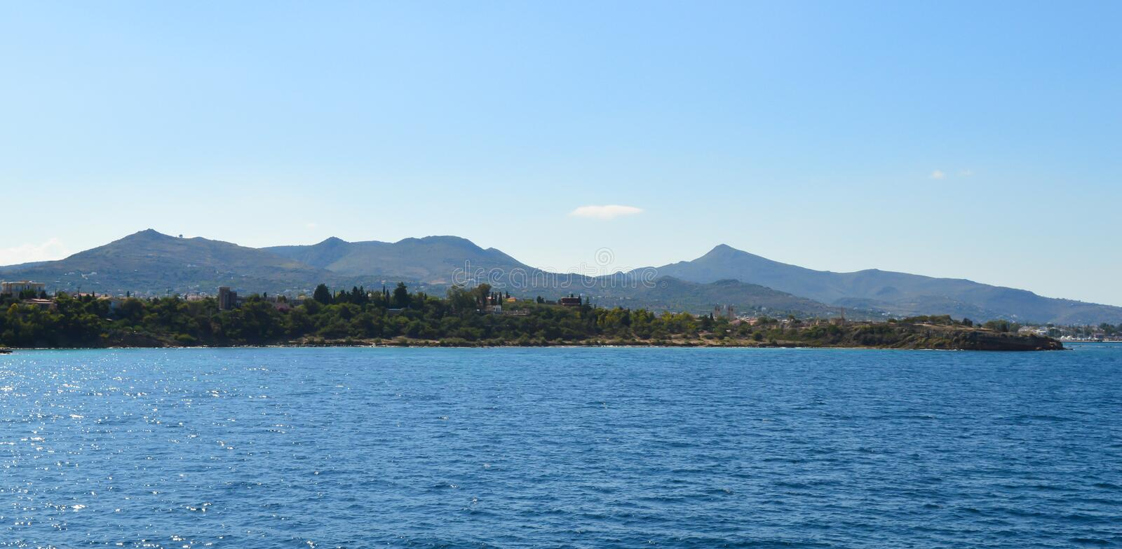 Seaview over Saronic Gulf in Greece, June, 2017. Aegina Island, Greece on June 19, 2017 royalty free stock images