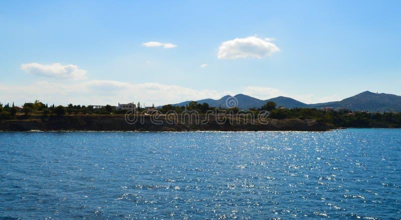 Seaview over Saronic Gulf in Greece, June, 2017. Aegina Island, Greece on June 19, 2017 stock images