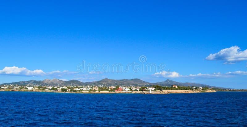 Seaview over Saronic Gulf in Greece stock image