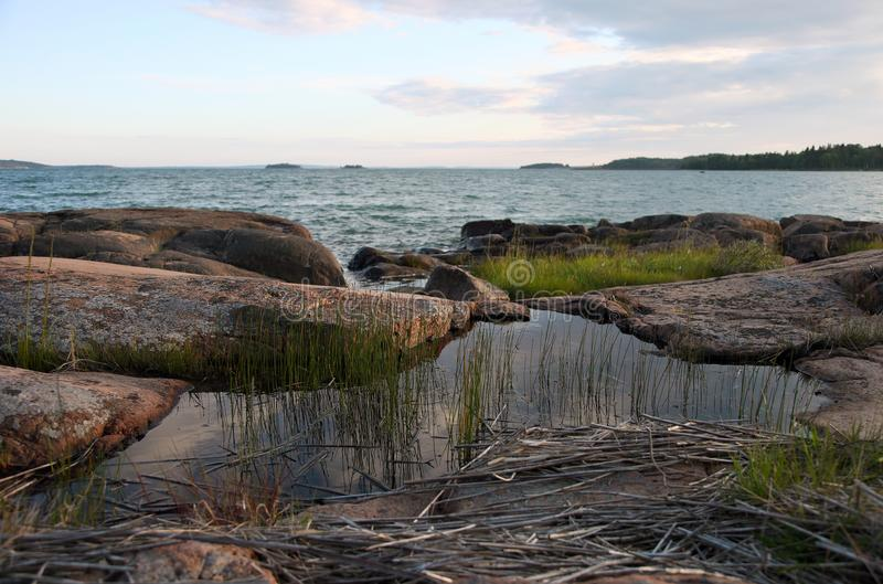 Seaview in Sund on Aland islands. Seaview and sunset in Sund on Aland islands stock photo