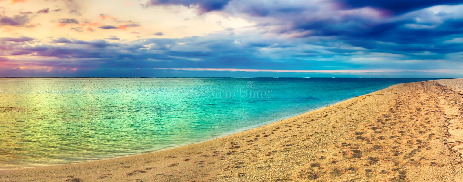 Seaview at sunset. Amazing landscape. Beautiful beach panorama stock image