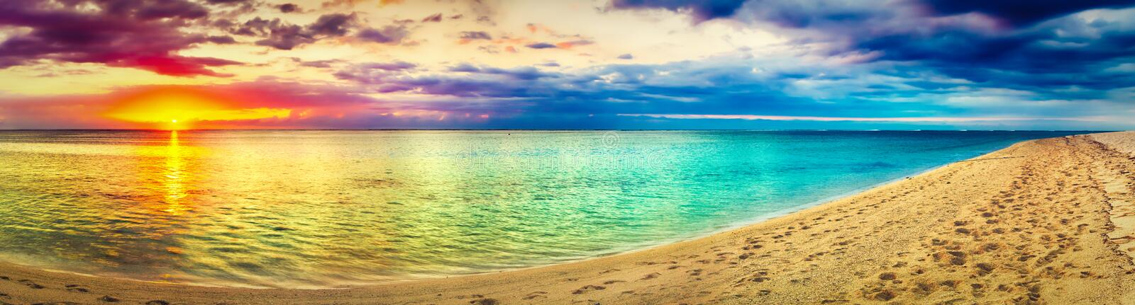 Seaview at sunset. Amazing landscape. Beautiful beach panorama royalty free stock photo