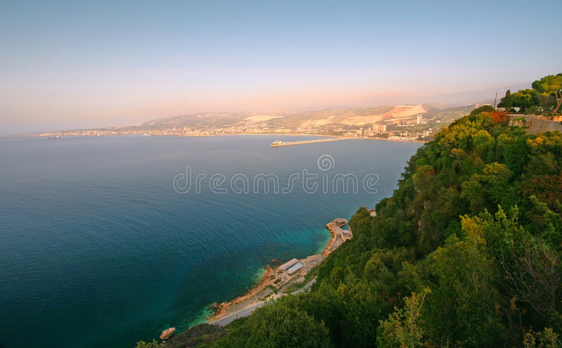Download Seaview from up stock image. Image of pebble, blue, hill - 8372601