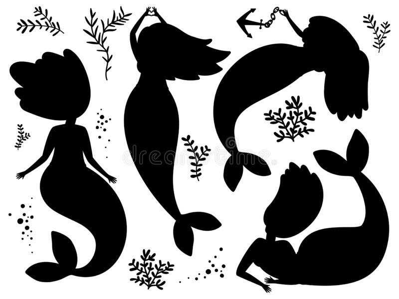 Seaweed and mermaids black silhouettes vector illustration