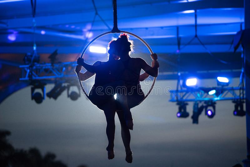 Seaworld澳大利亚空中箍杂技演员 图库摄影