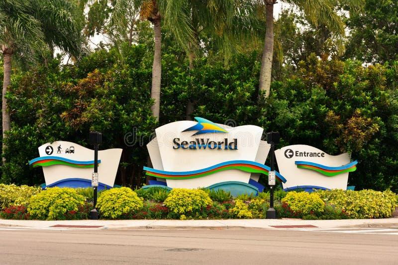 SeaWorld Orlando Signs. Beatiful animal theme park, oceanarium, outside aquarium, marine mammal p. Orlando, Florida; August 3, 2018 SeaWorld Orlando Signs royalty free stock image