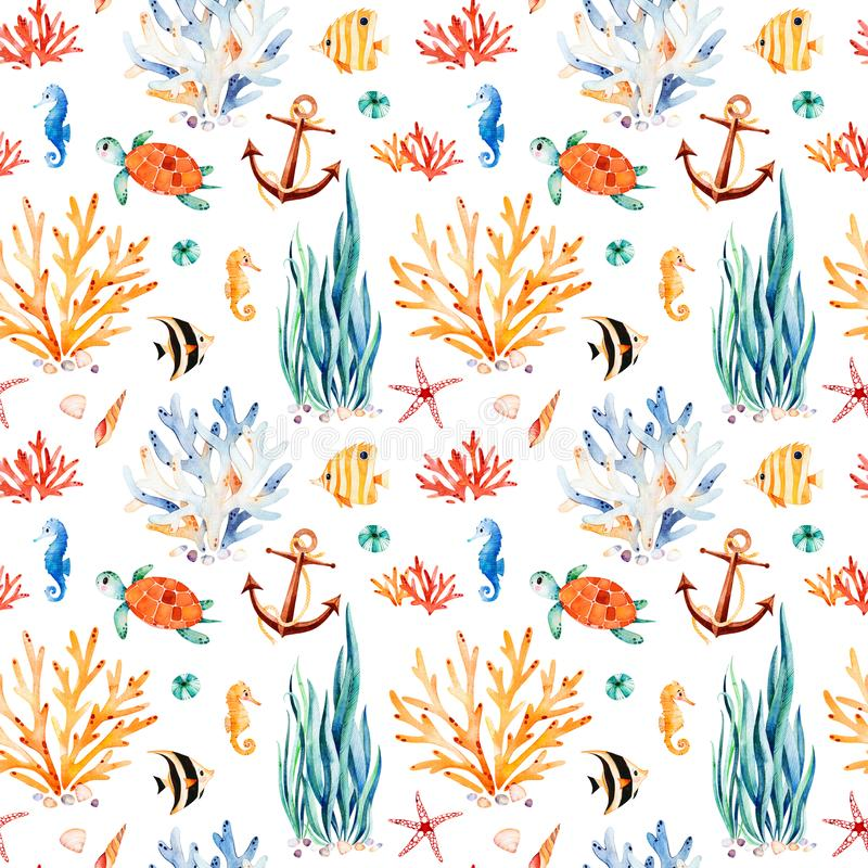 Seaworld watercolor background with cute turtle,seahorse,coral reef,seaweed stock illustration