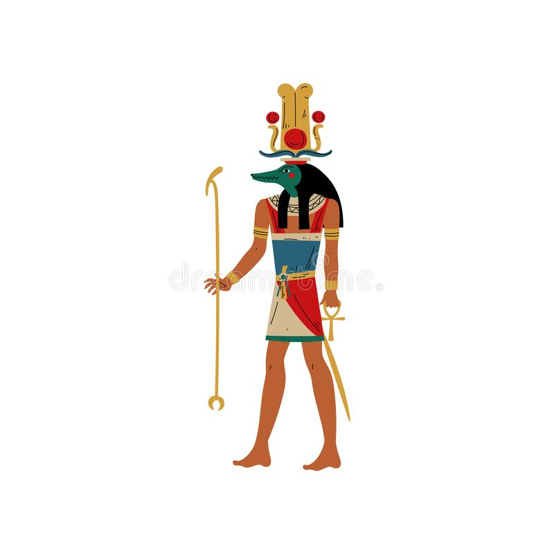 Seb, God of Water and Flood of Nile with Head of Crocodile, Symbol of Ancient Egyptian Culture Vector Illustration. On White Background vector illustration