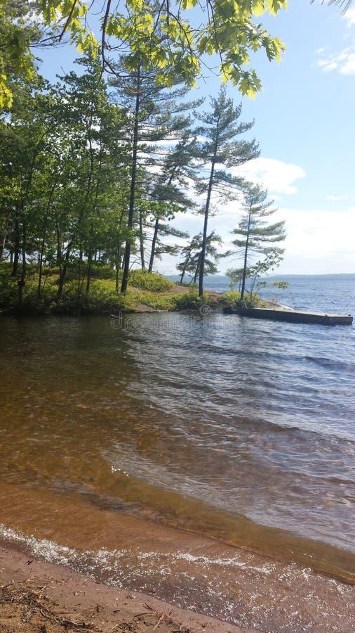 Sebago湖俏丽的夏天视图在缅因美国 免版税库存照片