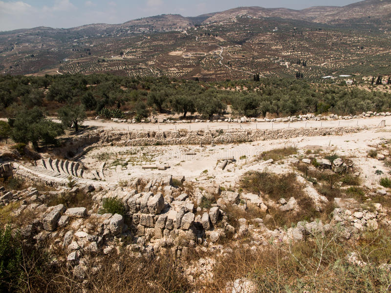 Sebastia, Israel antiga, ruínas e escavações imagens de stock