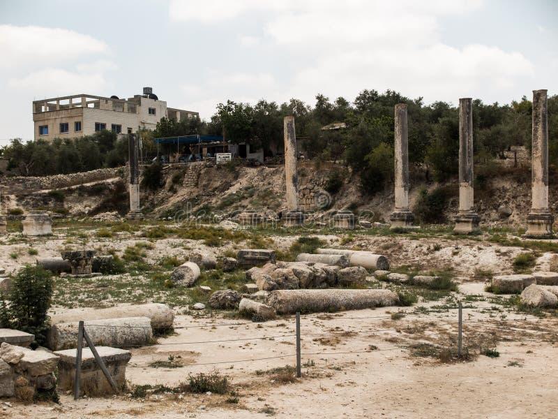 Sebastia, Israel antiga, ruínas e escavações imagem de stock royalty free