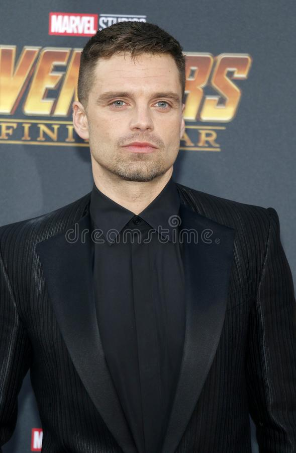 Sebastian Stan. At the premiere of Disney and Marvel`s `Avengers: Infinity War` held at the El Capitan Theatre in Hollywood, USA on April 23, 2018 royalty free stock image