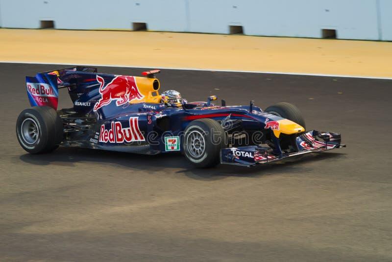 Sebastian Vettel. On Grand Prix Singapore 2010, Formula 1 night race - team Red Bull F1 royalty free stock image