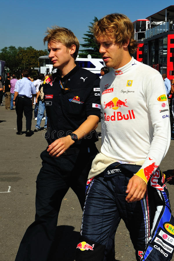 Sebastian Vettel. Is going to his car in the pitlane royalty free stock photo