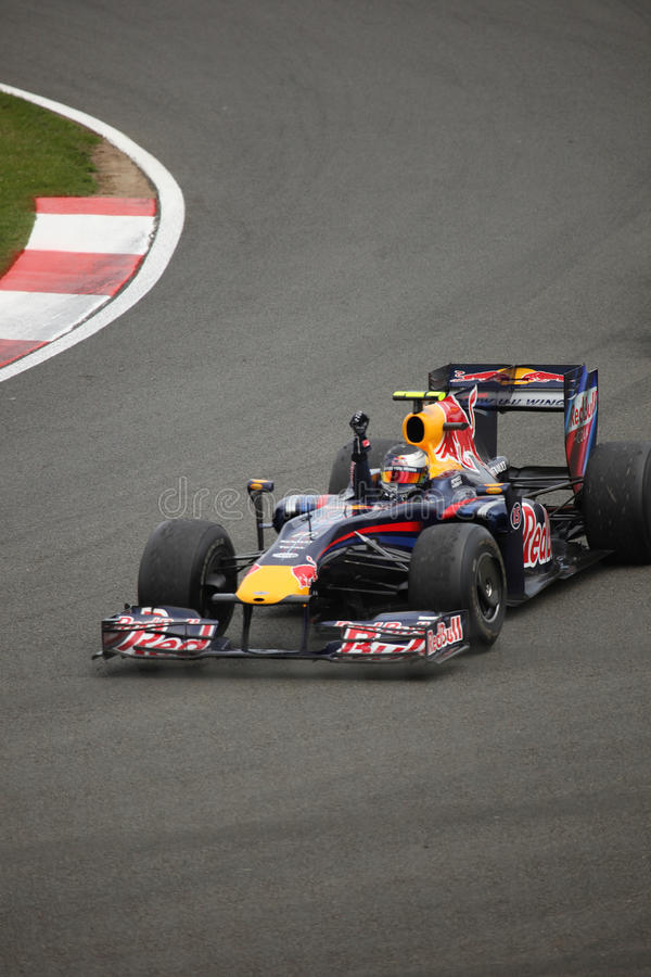 Sebastian Vettel bij de Britse Grand Prix royalty-vrije stock afbeeldingen
