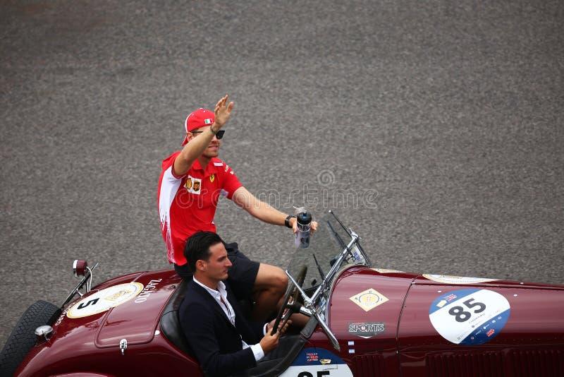Sebastian Vettel in Monza F1 Grandprix 2018 lizenzfreie stockbilder
