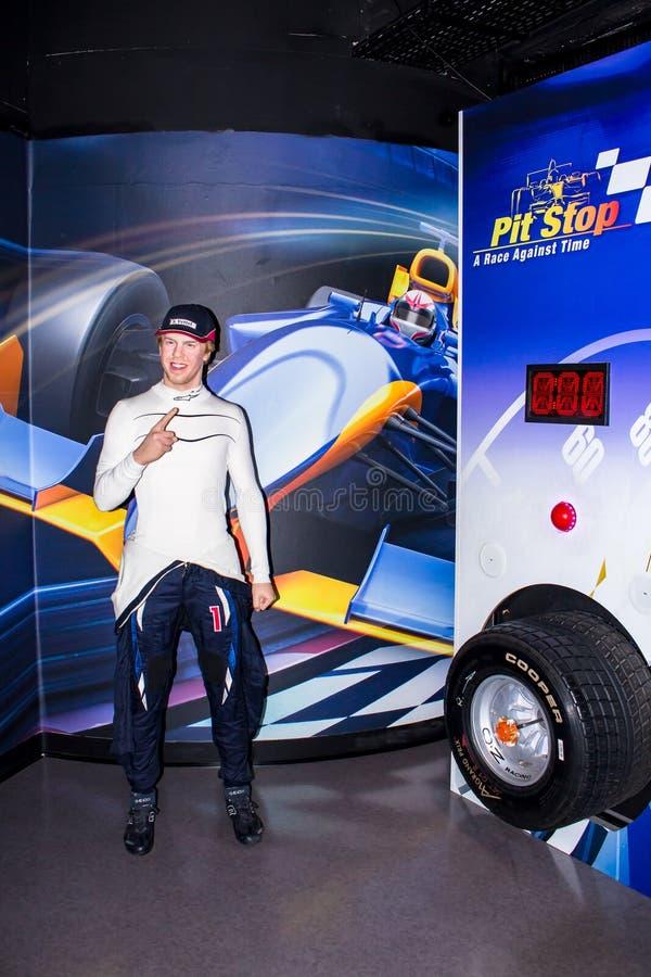 Sebastian Vettel-Wachsstatue, Amsterdam Madame-Tussauds lizenzfreie stockbilder