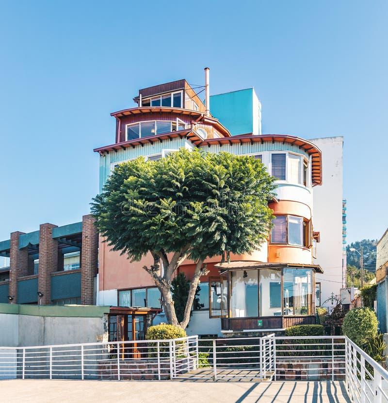 Sebastiana do La, a casa do poeta Pablo Neruda - Valparaiso, o Chile fotografia de stock