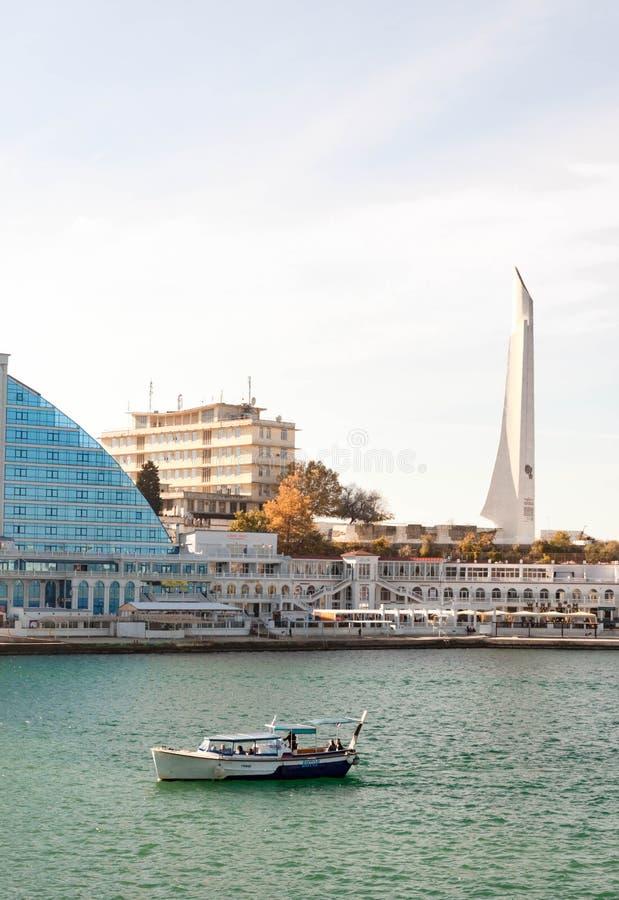 SEBASTOPOL, RUSSIA - NOVEMBER 4,2018: Artillery bay of Black sea, view of Hero-City obelisk on cape Crystal. SEBASTOPOL, RUSSIA - SEPTEMBER 18,2014: Artillery royalty free stock images
