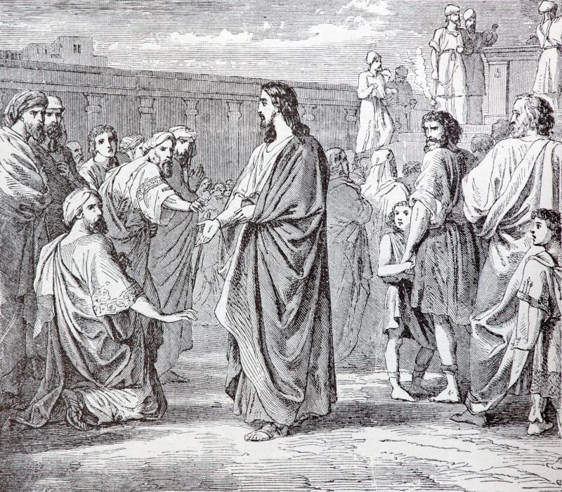 SEBECHLEBY, ESLOVAQUIA: Jesús y los escribanos y los fariseos Litografía en el naseho de Spasitela del bozskeho de Zivot Jezisa K fotos de archivo libres de regalías