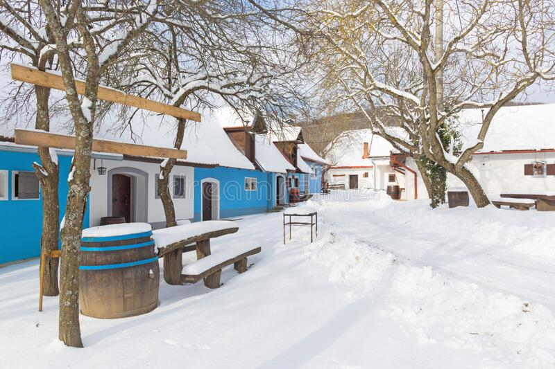 Sebechleby - The settlement of old vine cellar houses from middle Slovakia Stara Hora in winter stock photos