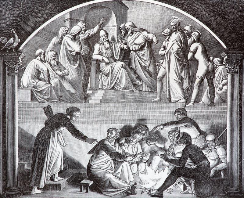 SEBECHLEBY, SLOVACCHIA - 27 LUGLIO 2015: Jesus Before Caiaphas e tradimento di litografia di Peter dall'artista Scheuchl 1907 fotografie stock libere da diritti
