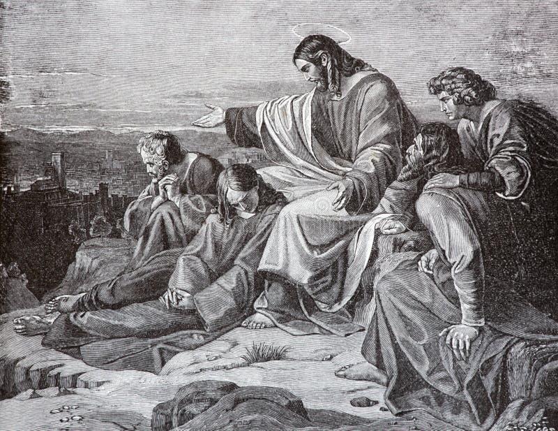 SEBECHLEBY, SLOVACCHIA - 27 LUGLIO 2015: La profezia di Gesù sopra Gerusalemme dall'artista Scheuchl 1907 fotografie stock