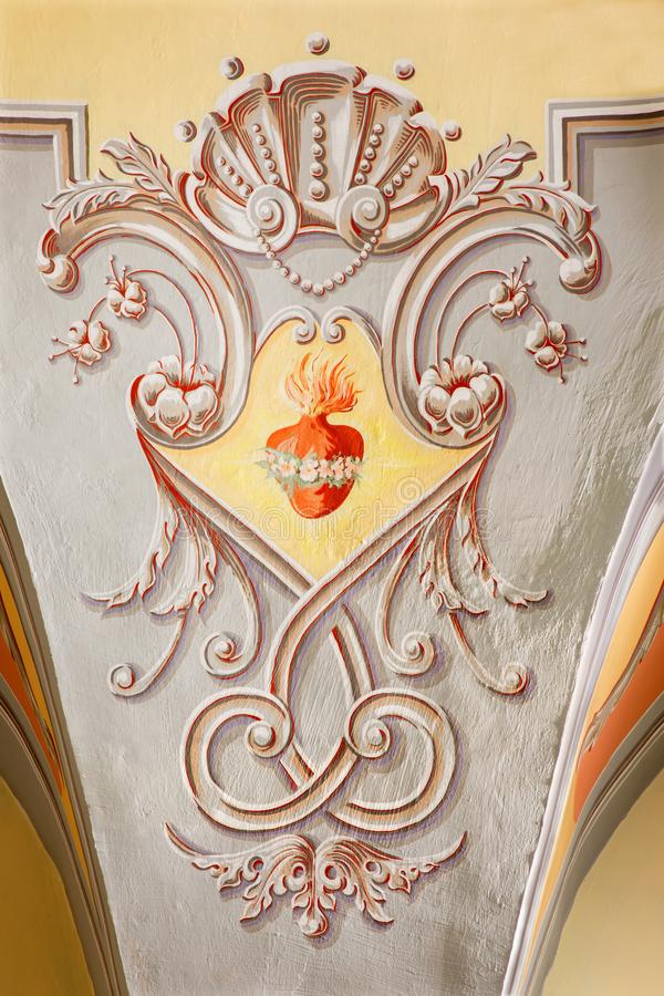 SEBECHLEBY, SLOVAKIA - FEBRUARY 26, 2016: The Neo baroque fresco in parish church of St. Michael with the heart of Virgin Mary.  stock photography