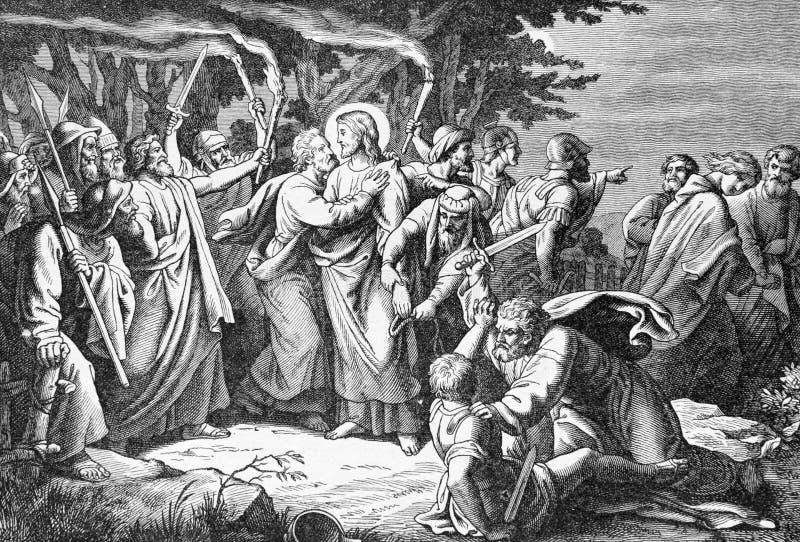 SEBECHLEBY SLOVAKIEN - JULI 27, 2015: Arrestera av Jesus i Gethsemane trädgårdlitografi av konstnären Scheuchl 1907 royaltyfri bild