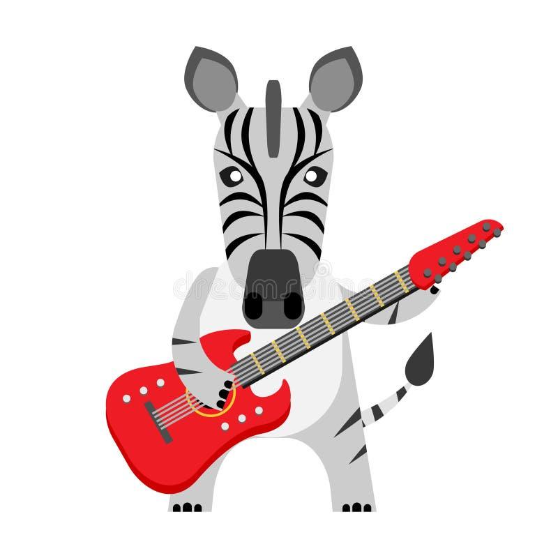 Sebra med den elektriska gitarren vektor illustrationer