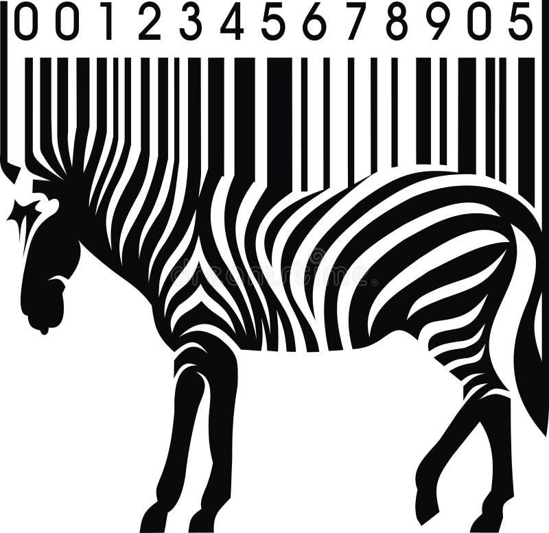 Sebra som barcode royaltyfri illustrationer