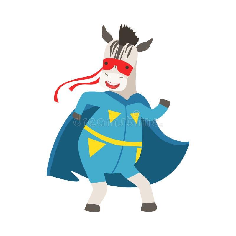 Sebradjur som kläs som Superhero med maskerat vigilantetecken för udde ett komiker vektor illustrationer