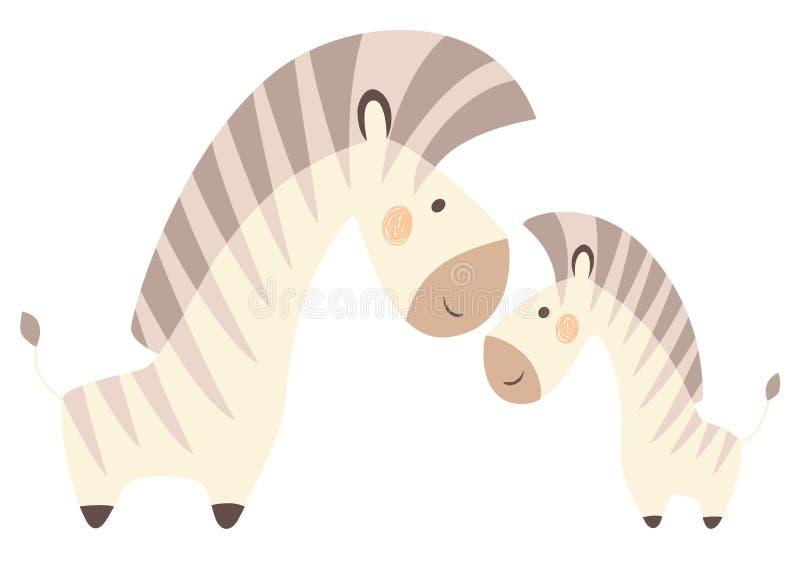 Sebramamman och behandla som ett barn det gulliga trycket Söt djur familj vektor illustrationer