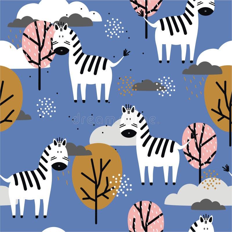 Sebror och träd, färgrik sömlös modell Dekorativ gullig bakgrund med djur royaltyfri illustrationer