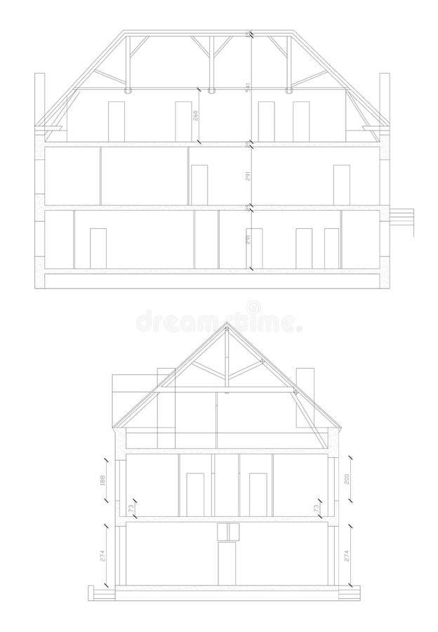 Secção transversal feito através de uma casa no CAD ilustração do vetor