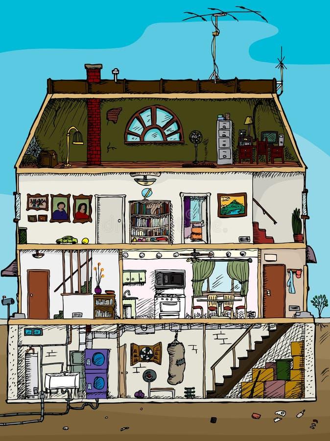 Secção transversal velho da casa ilustração stock
