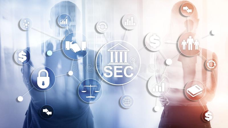 SEC del comit? del intercambio de seguridad Agencia independiente del gobierno federal de Estados Unidos ilustración del vector
