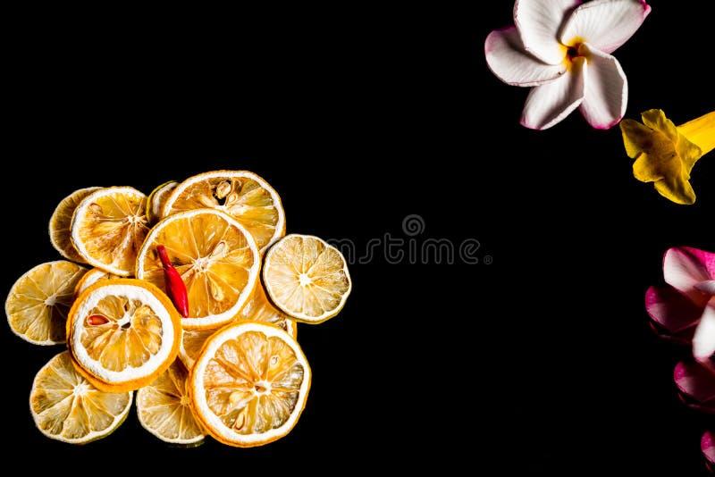 Sec du citron et de la fleur de tranche a isolé le fond noir photographie stock