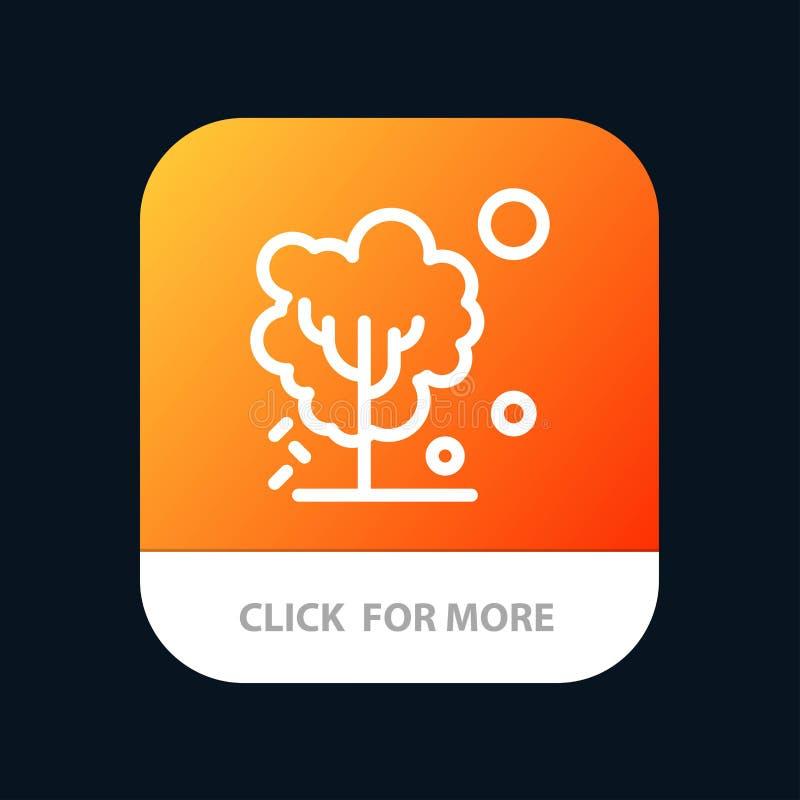 Sec, global, sol, arbre, bouton mobile de chauffage d'appli Android et ligne version d'IOS illustration de vecteur