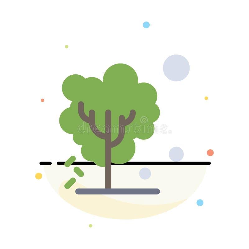 Sec, global, sol, arbre, calibre plat abstrait de chauffage d'icône de couleur illustration de vecteur