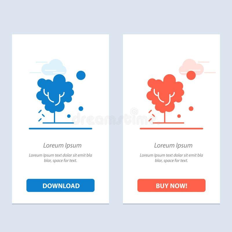 Sec, global, sol, arbre, chauffant le téléchargement bleu et rouge et acheter maintenant le calibre de carte de gadget de Web illustration de vecteur