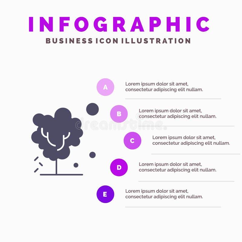 Sec, global, sol, arbre, fond solide de chauffage de présentation d'étapes d'Infographics 5 d'icône illustration stock